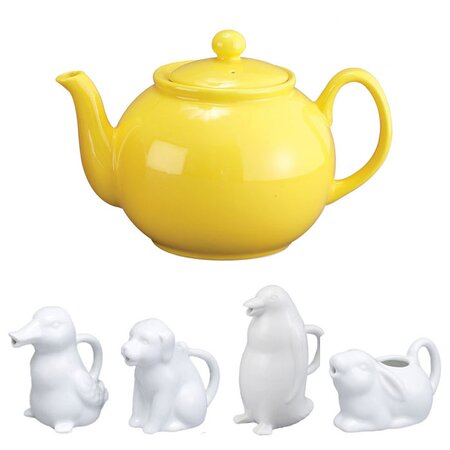 32 Oz. English Style Teapot in Yellow with Animal Creamer