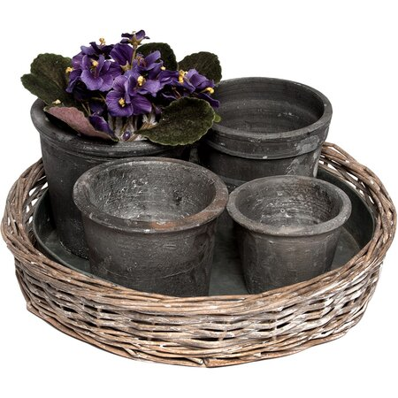 5 Piece Sherwood Planters and Tray Set