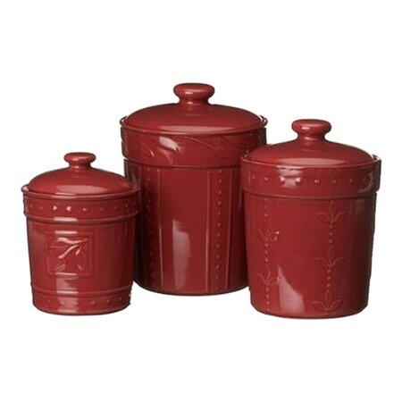 food storage canisters amp dispensers joss and main antiqua burgundy canister set of 3 425030 overstock