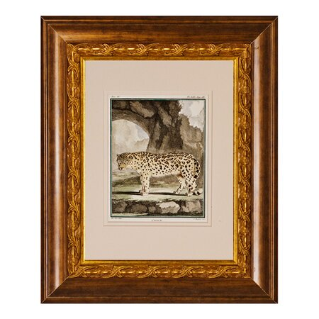 Antique Engraved Snow Leopard Framed Wall Art