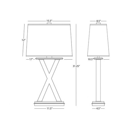 Robert Abbey Tic-Tac-Toe Table Lamp in Silver