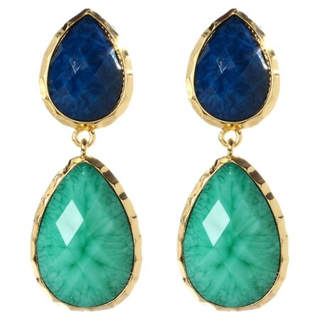 Charlotte Earrings in Turquoise & Lapis