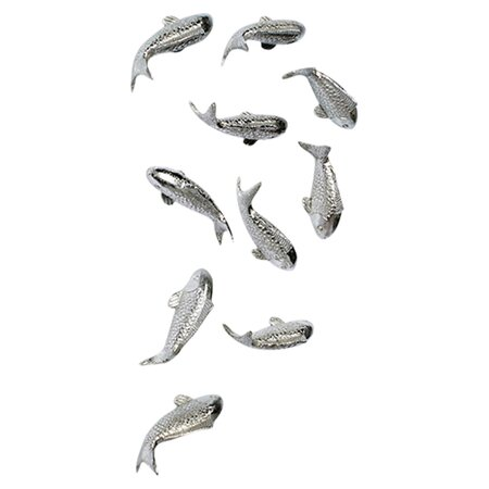 Koi wall decor in silver leaf set of 10 intriguing for Koi metal wall art