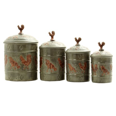 the farmhouse kitchen 4 piece rooster canister set oi1385 e4316