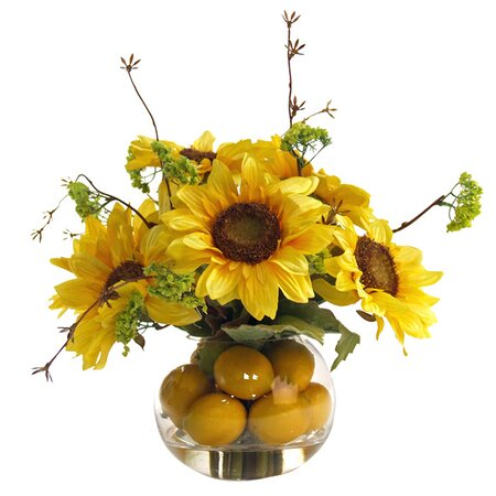 Silk Sunflower & Lemon Arrangement