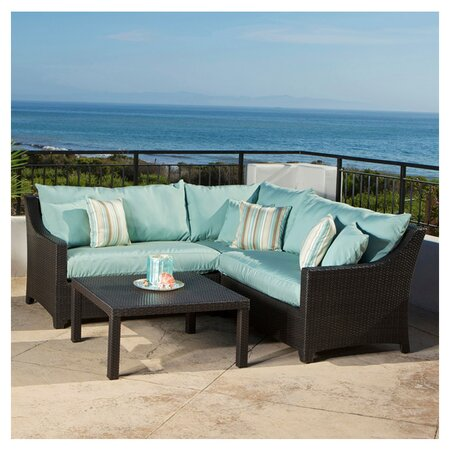 4 Piece Cabo Outdoor Sectional Set in Light Blue