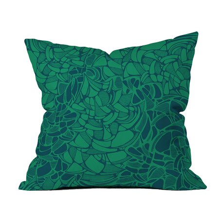 Karen Harris Carillon Peacock Emerald Outdoor Throw Pillow