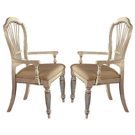 Wilshire Arm Chair in Antiqued White (Set of 2)