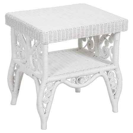 Peacock Rattan End Table in White