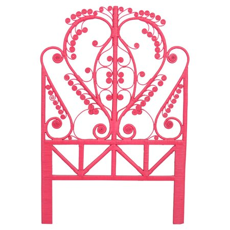 Peacock Rattan Twin Headboard in Pink