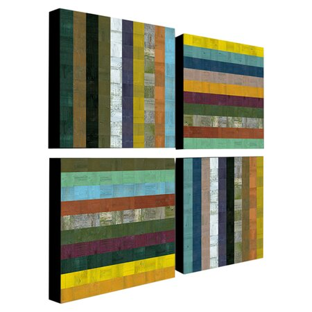 4 Piece Abstract V Canvas Art Set