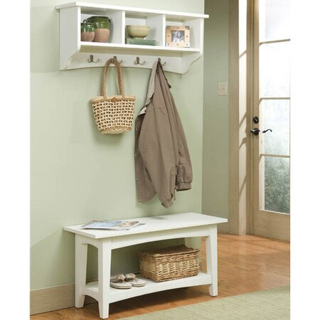2 piece brayden entryway wall shelf bench set in ivory. Black Bedroom Furniture Sets. Home Design Ideas