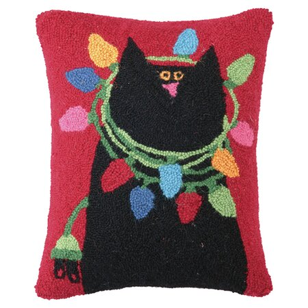 Black Cat with Lights Hook Pillow