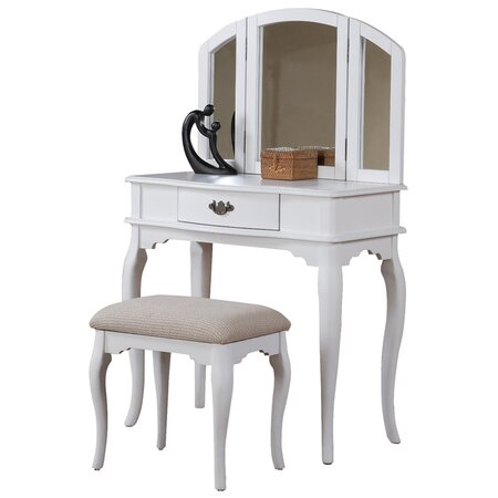 bobkona jaden bedroom vanity set with stool in white