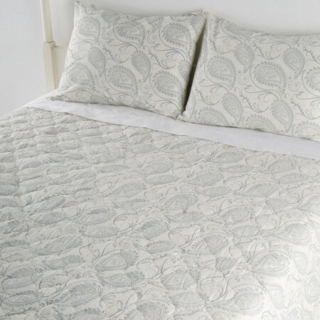 Quilted Paisley Bedding Set in Blue