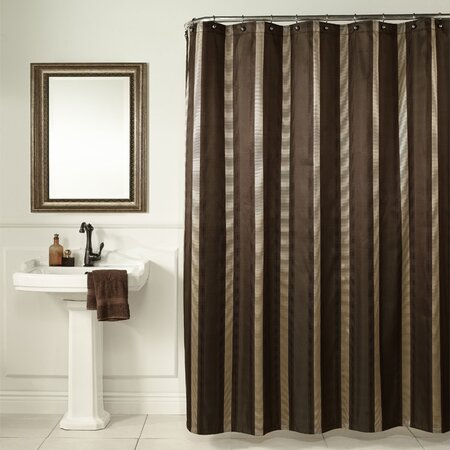 Hudson Stripe Shower Curtain in Brown - Bathing Beauty on Joss & Main