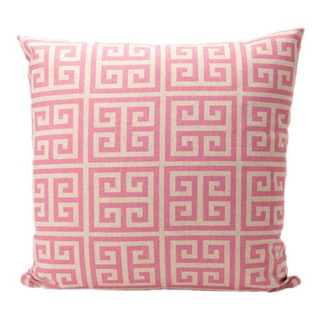 Large Greek Key Pillow in Rose