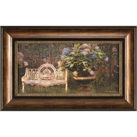 White Bench & Hydrangeas Framed Print
