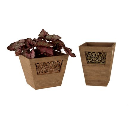2 Piece Fairfield Planter Set in Mocha Brown