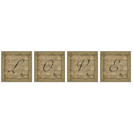 Large 4 Piece Love Antique Wall Art