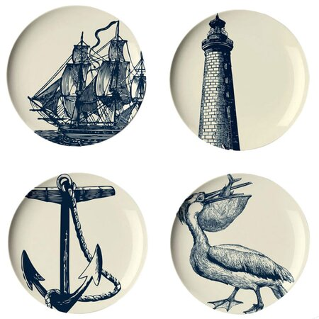 Thomas Paul 4 Piece Scrimshaw Plate Set