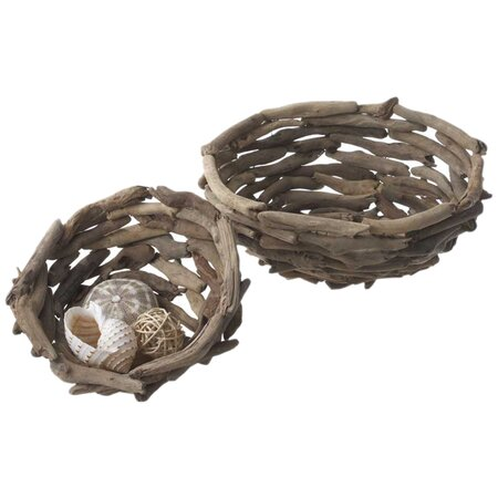 2 Piece Driftwood Bowl Set