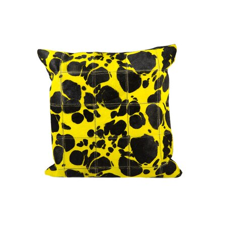 Expedition Leather Hide Pillow in Yellow
