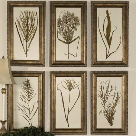 6 Piece Wheat Grass Framed Wall Art Set
