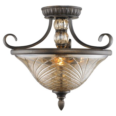 Armand Crystal Semi-Flush Mount in Burnt Sienna