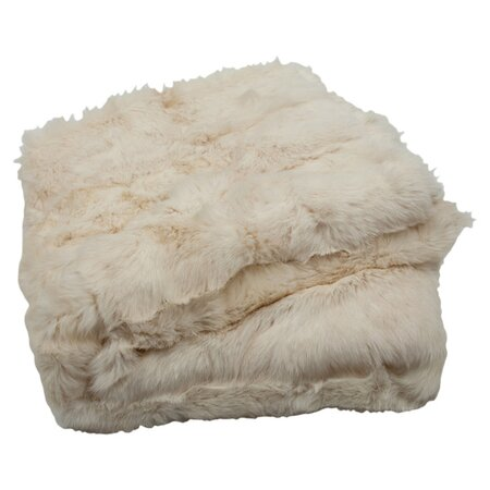 Concord Rabbit Fur Throw in Ivory