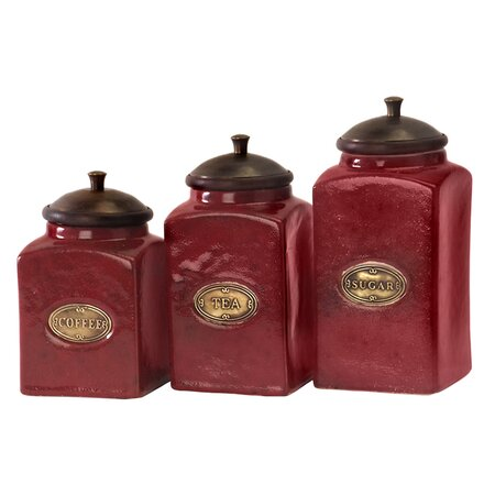 carbon crimson cream 3 piece kitchen canister set dixq1048 e3085